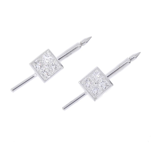 1284 - (547815-1-A) TOM FORD - a set of four diamond dress studs. Each designed as a square-shape diamond c...