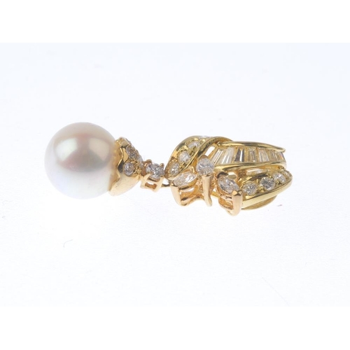 1287 - (547968-2-A) A diamond and cultured pearl pendant. The cultured pearl, suspended from a brilliant-cu...