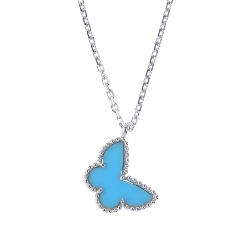 1293 - (547968-8-A) VAN CLEEF & ARPELS - an 18ct gold 'Sweet Alhambra' butterfly pendant. The turquoise but...