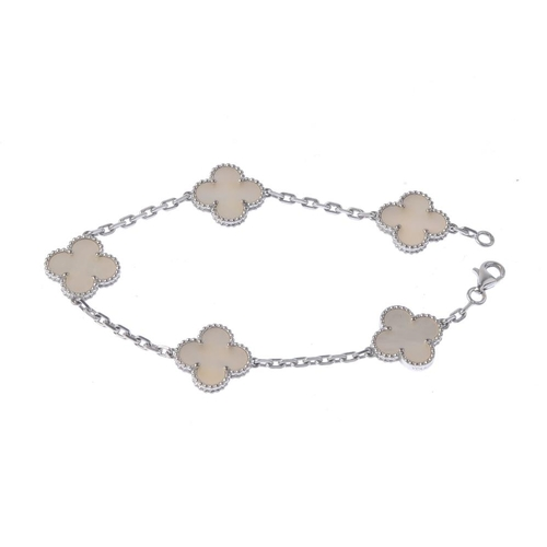 1294 - (547968-9-A) VAN CLEEF & ARPELS - an 18ct gold 'Alhambra' bracelet. Designed as a series of mother o...