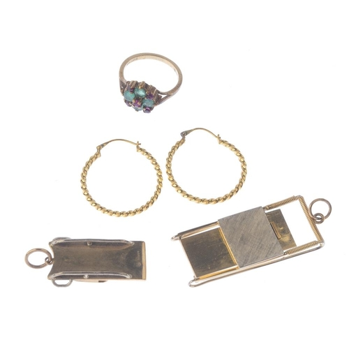 1309 - (549401-1-A) A selection of jewellery. To include a 9ct gold ruby and emerald dress ring, an early 2...