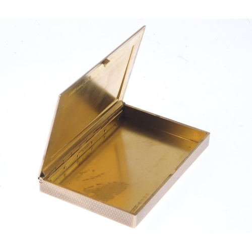 1313 - (549848-1-A) ASPREY & CO. - a 1920s 9ct gold cigarette case. Of rectangular outline, with engine-tur...
