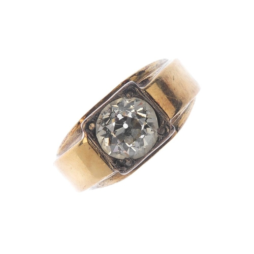 1315 - (549857-1-A) An 18ct gold diamond single-stone ring. The old-cut diamond, inset to the square-shape ...