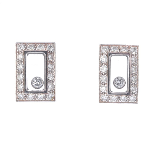 1327 - (550314-2-A) CHOPARD - A pair of 'happy diamond' stud earrings. Each designed as a free moving brill...