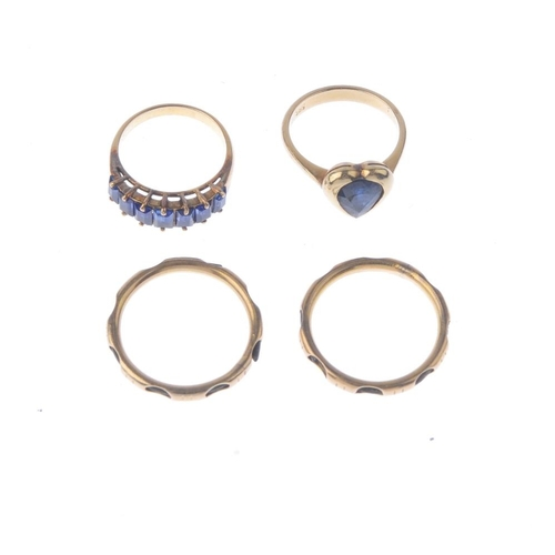 1330 - (550463-1-A) A selection of jewellery. To include a pear-shape sapphire heart ring, a sapphire seven...