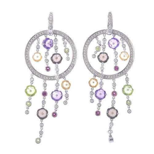 1357 - (203432) DI MODOLO - a pair of diamond and multi-gem 'Tempia' earrings. Each designed as a brilliant...
