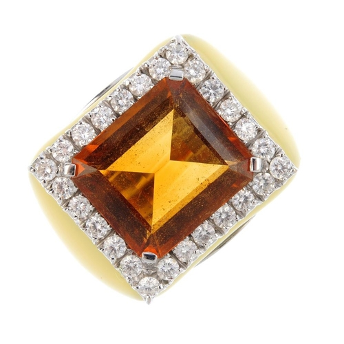 137 - A citrine, diamond and enamel cocktail ring. The rectangular-shape citrine, with brilliant-cut diamo...