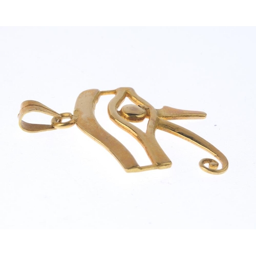 1375 - (133741) A pendant. Designed as the Eye of Horus. Length 3.8cms. Weight 6.4gms.  <br><li>Please be a...