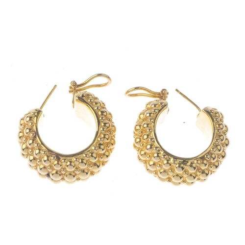 1379 - (203799) A pair of hoop earrings. Each designed as a vari-size bead accent ear hoop. Length 3.4cms. ...