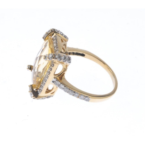 1383 - (203799) A citrine and diamond cluster ring and necklace. To include a citrine and diamond cluster r...