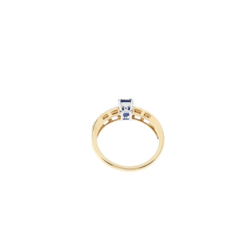 139 - An 18ct gold sapphire and diamond dress ring. The rectangular-shape sapphire, with brilliant-cut dia...