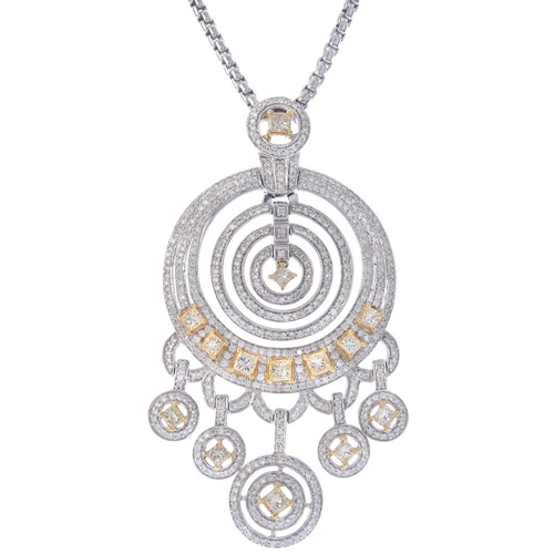 1393 - (201024) A diamond pendant. Designed as a series of brilliant-cut diamond graduated hoops, with squa...