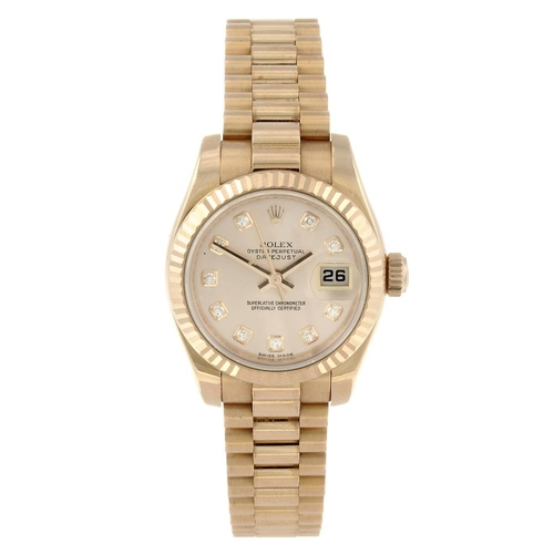 1406 - (169993) ROLEX - a lady's Oyster Perpetual Datejust bracelet watch. Circa 2008. 18ct rose gold case ...