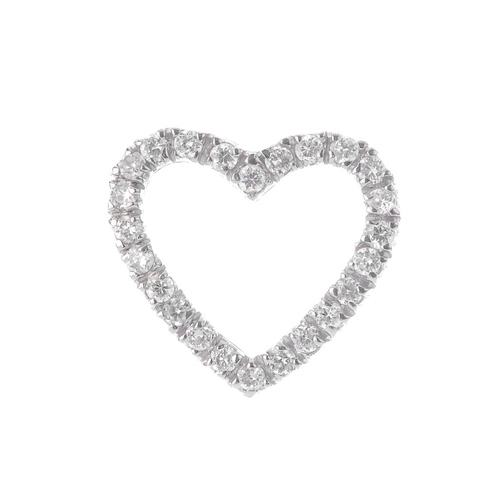 141 - A 9ct gold cubic zirconia pendant. Of openwork design, the circular-shape cubic zirconia heart-shape...