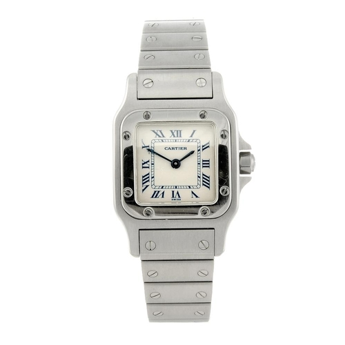 1410 - (63663) CARTIER - a Santos bracelet watch. Stainless steel case. Reference 1565, serial 159440BB. Si...