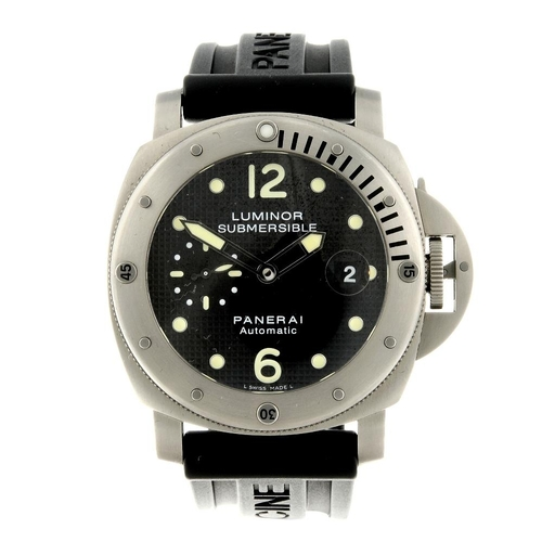 1412 - (200775) PANERAI - a gentleman's Submersible wrist watch. Circa 2011. Titanium case with calibrated ...