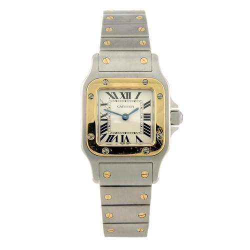 1418 - (131529-1-A) CARTIER - a bi-metal Santos bracelet watch. Reference 1567, serial 227586RX. <br>Fellow...