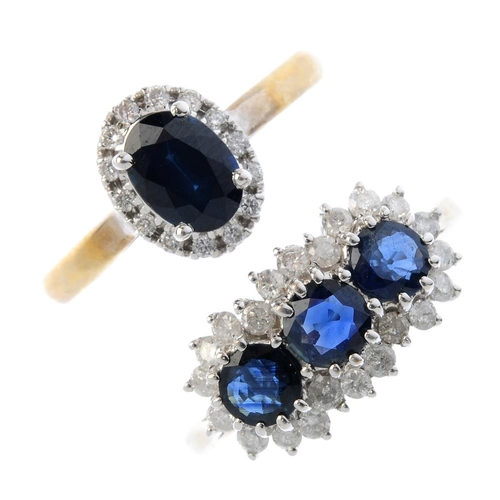 142 - Three 9ct gold sapphire and diamond dress rings. To include a sapphire and diamond cluster ring, and...