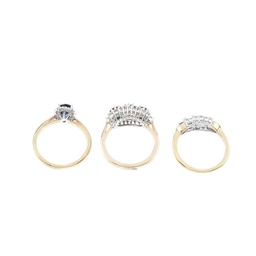 142 - Three 9ct gold sapphire and diamond dress rings. To include a sapphire and diamond cluster ring, and...