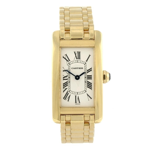 1428 - (4143-1-A) CARTIER - an 18ct yellow gold Tank Americaine bracelet watch. Reference 1710, serial CC56...