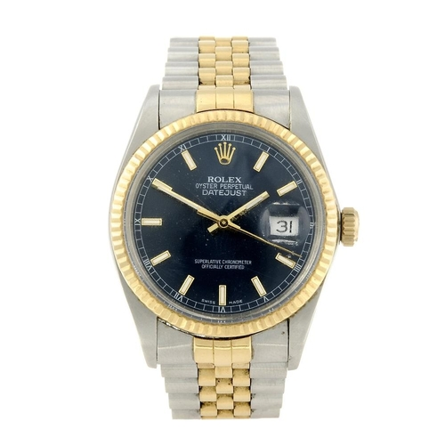 1436 - (401741-1-A) ROLEX - a gentleman's bi-metal Oyster Perpetual Datejust bracelet watch. Reference 1601...