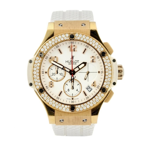 1440 - (401817-1-A) HUBLOT - an 18ct rose gold Big Bang Porto Cervo chronograph wrist watch. Numbered 341, ...