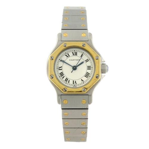 1449 - (546629-1-A) CARTIER - a bi-metal Santos bracelet watch. Numbered 090772423. <br>Fellows do not guar...