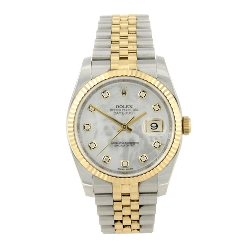 1455 - (547699-1-A) ROLEX - a gentleman's bi-metal Oyster Perpetual Datejust bracelet watch. Reference 1162...
