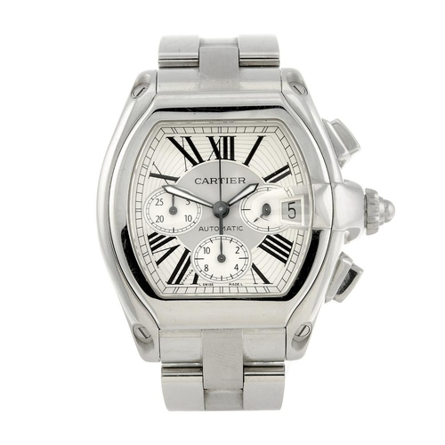 1457 - (547906-1-A) CARTIER - a stainless steel Roadster chronograph bracelet watch. Reference 2618, serial...