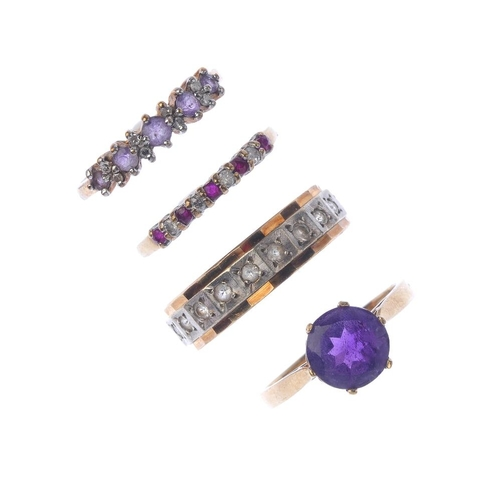 146 - Four gem-set dress rings. To include an amethyst single-stone ring, an alternating ruby and diamond ...