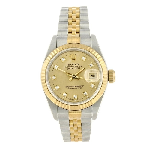 1461 - (550198-1-A) ROLEX - a lady's bi-metal Oyster Perpetual Datejust bracelet watch. Reference 69173, se...