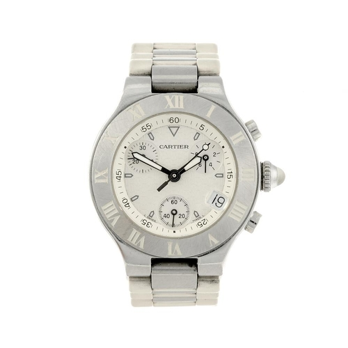 1467 - (550314-4-A) CARTIER - a bi-material Chronoscaph 21 chronograph wrist watch. Reference 2996, serial ...