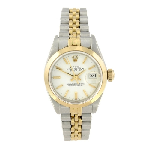 1469 - (7000809-1-A) ROLEX - a lady's bi-metal Oyster Perpetual Datejust bracelet watch. Reference 69163, s...