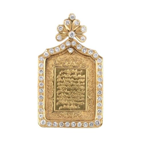 147 - A diamond pendant. The rectangular-shape religious panel, within a pave-set diamond border and diamo...