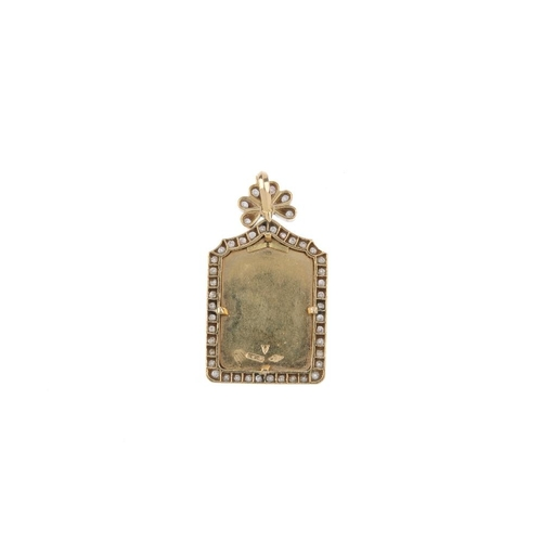 147 - A diamond pendant. The rectangular-shape religious panel, within a pave-set diamond border and diamo...
