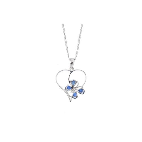 15 - A 9ct gold sapphire and diamond butterfly pendant. The single-cut diamond and pear-shape sapphire bu...