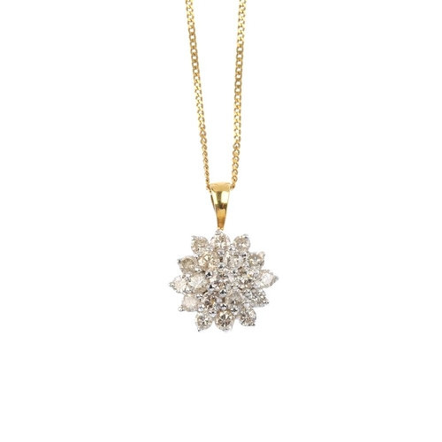 156 - An 18ct gold diamond cluster pendant. The brilliant-cut diamond, with similarly-cut diamond double s...