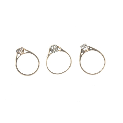 159 - Three 9ct gold diamond single-stone rings. Each designed as a brilliant-cut diamond, within an illus...
