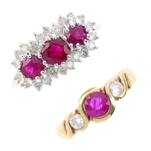 161 - Two 9ct gold ruby and diamond dress rings. The first designed as three circular-shape rubies, within...