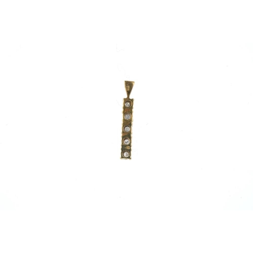 162 - A 9ct gold diamond pendant. Of bi-colour design, the brilliant-cut diamond line, with tapered surmou...