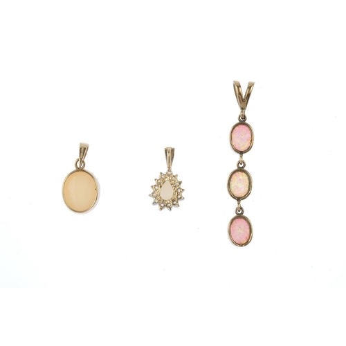 168 - Three gem-set pendants. To include a 9ct gold oval opal cabochon collet, a 9ct gold oval synthetic o...