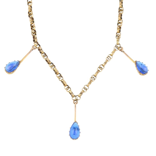 169 - A late Victorian 9ct gold necklace. The fancy-link chain, suspending three pear-shape blue paste cab...