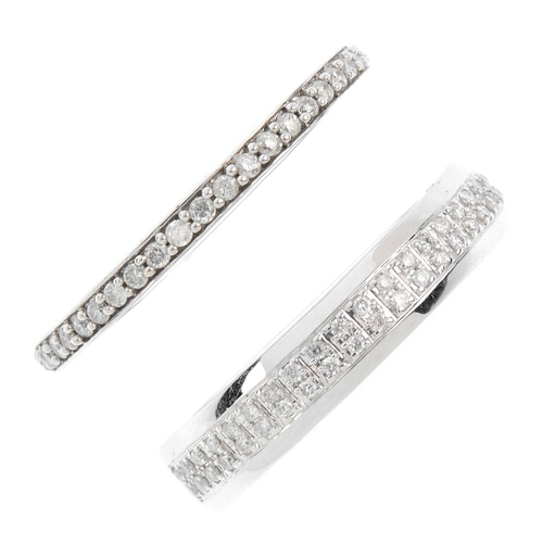 172 - Two 18ct gold diamond half-circle eternity rings. Each set with brilliant-cut diamonds. Estimated to...
