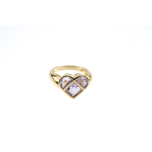 183 - A selection of 9ct gold amethyst jewellery. To include a heart-shape amethyst cluster ring, together...