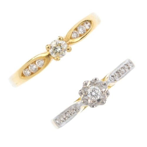 189 - Two 18ct gold diamond single-stone rings. Each designed as a brilliant-cut diamond, with similarly-c...