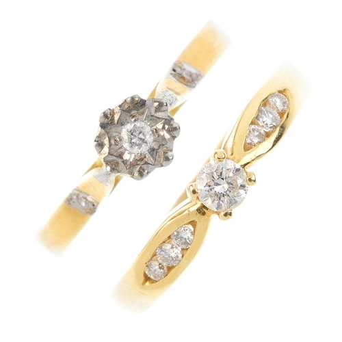 192 - Two 18ct gold diamond single-stone rings. Each designed as a brilliant-cut diamond, with similarly-c...