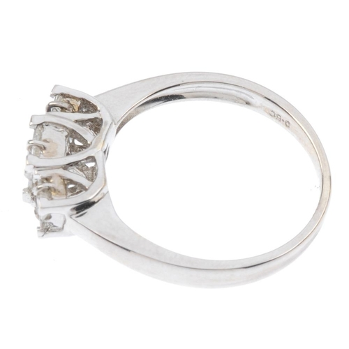 198 - A diamond dress ring. Designed as three graduated square-shape diamond clusters, with plain band. To...