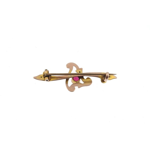 199 - Five items of gem-set jewellery. To include two stickpins, two brooches and a 9ct gold ring. Ring wi...