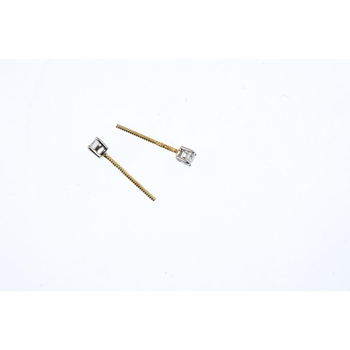 202 - A pair of 18ct gold brilliant-cut diamond stud earrings. Estimated total diamond weight 0.30ct, H-I ...