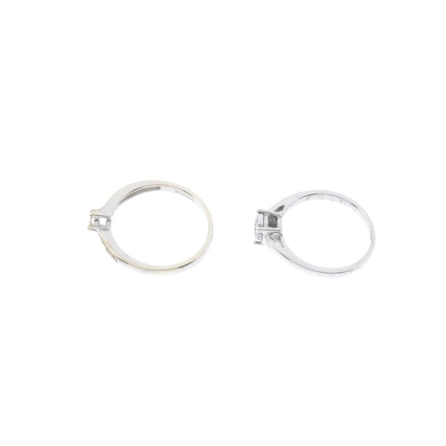204 - Two 9ct gold diamond single-stone rings. To include a circular-cut diamond with single-cut diamond s...